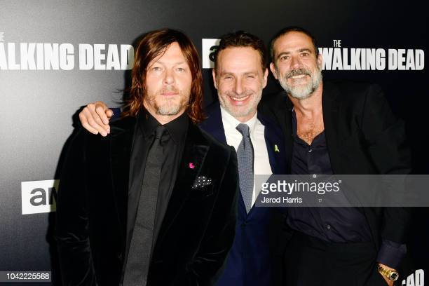 Norman Reedus, Andrew Lincoln and Jeffrey Dean Morgan arrive at the Premiere Of AMC's 'The Walking Dead' Season 9 at the DGA Theater on September 27,...