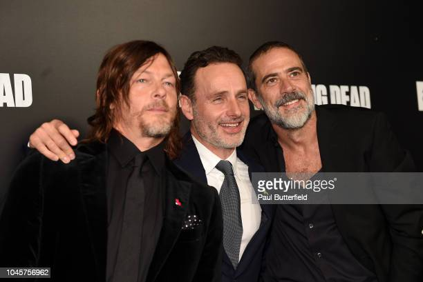 Norman Reedus Andrew Lincoln and Jeffrey Dean Morgan attend the premiere of AMC's The Walking Dead season 9 at DGA Theater on September 27 2018 in...