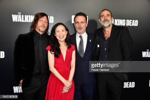 Norman Reedus Angela Kang Andrew Lincoln Jeffery Dean Morgan attend the Premiere of AMC's 'The Walking Dead' Season 9 at DGA Theater on September 27...