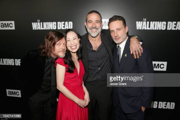 Norman Reedus Angela Kang Jeffrey Dean Morgan and Andrew Lincoln attend The Walking Dead Premiere and After Party on September 27 2018 in Los Angeles...