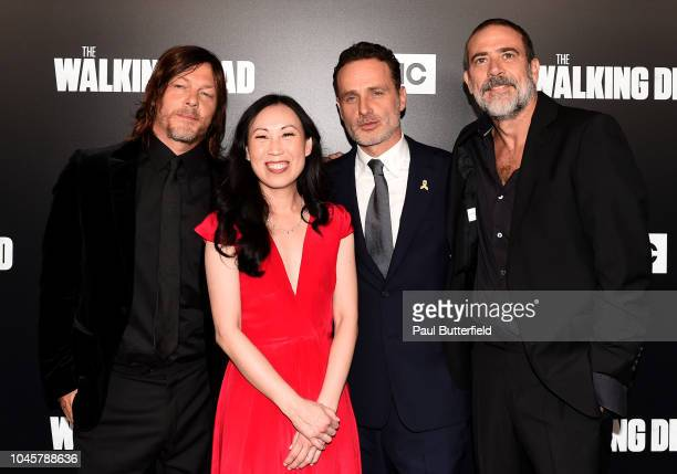 Norman Reedus Angela Kang Jeffrey Dean Morgan and Andrew Lincoln attend the premiere of AMC's 'The Walking Dead' season 9 at DGA Theater on September...