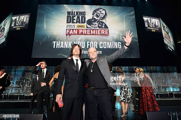 """Norman Reedus attends AMC's """"The Walking Dead"""" season 6 fan premiere event at Madison Square Garden on October 9, 2015 in New York City."""
