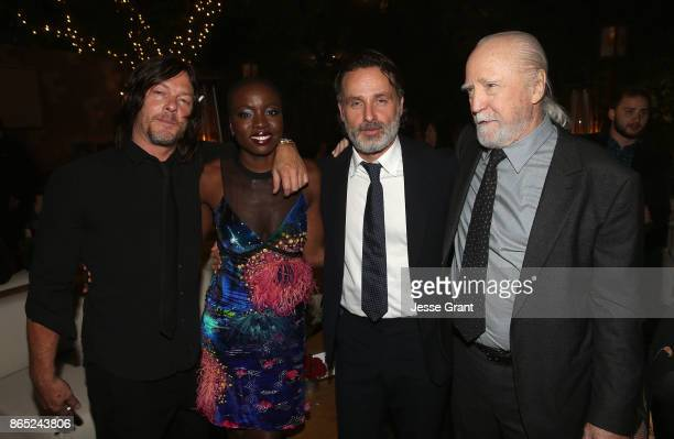 Norman Reedus Danai Gurira Andrew Lincoln and Scott Wilson attend The Walking Dead 100th Episode Premiere and Party on October 22 2017 in Los Angeles...