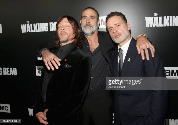 Norman Reedus, Jeffrey Dean Morgan and Andrew Lincoln attend The Walking Dead Premiere and After Party on September 27, 2018 in Los Angeles,...
