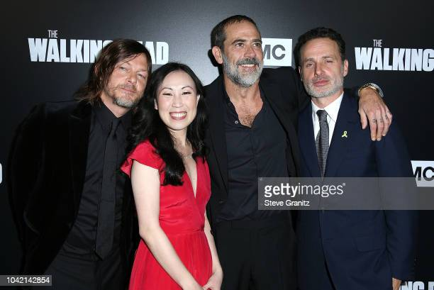 Norman Reedus Jeffrey Dean Morgan Andrew Lincoln Angela Kang arrives at the Premiere Of AMC's 'The Walking Dead' Season 9 at DGA Theater on September...
