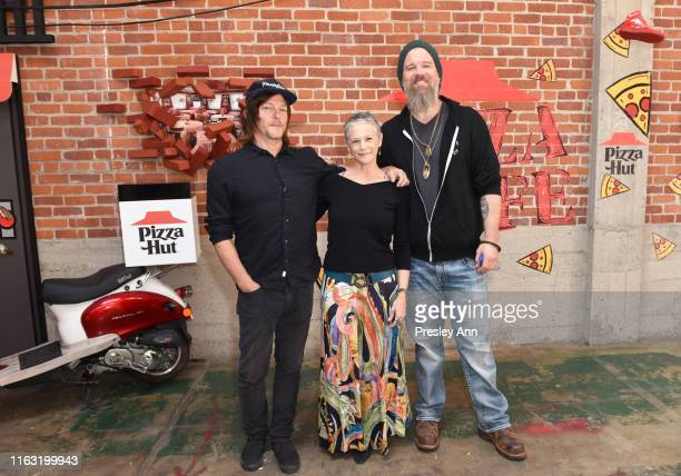 Norman Reedus Melissa McBride and Ryan Hurst of 'The Walking Dead' attend the Pizza Hut Lounge at 2019 ComicCon International San Diego on July 20...