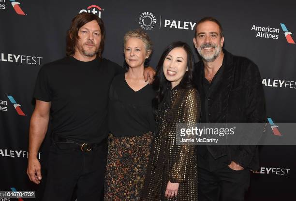 Norman Reedus Melissa McBride Angela Kang and Jeffrey Dean Morgan attend PaleyFest NY The Walking Dead screening and panel at The Paley Center For...
