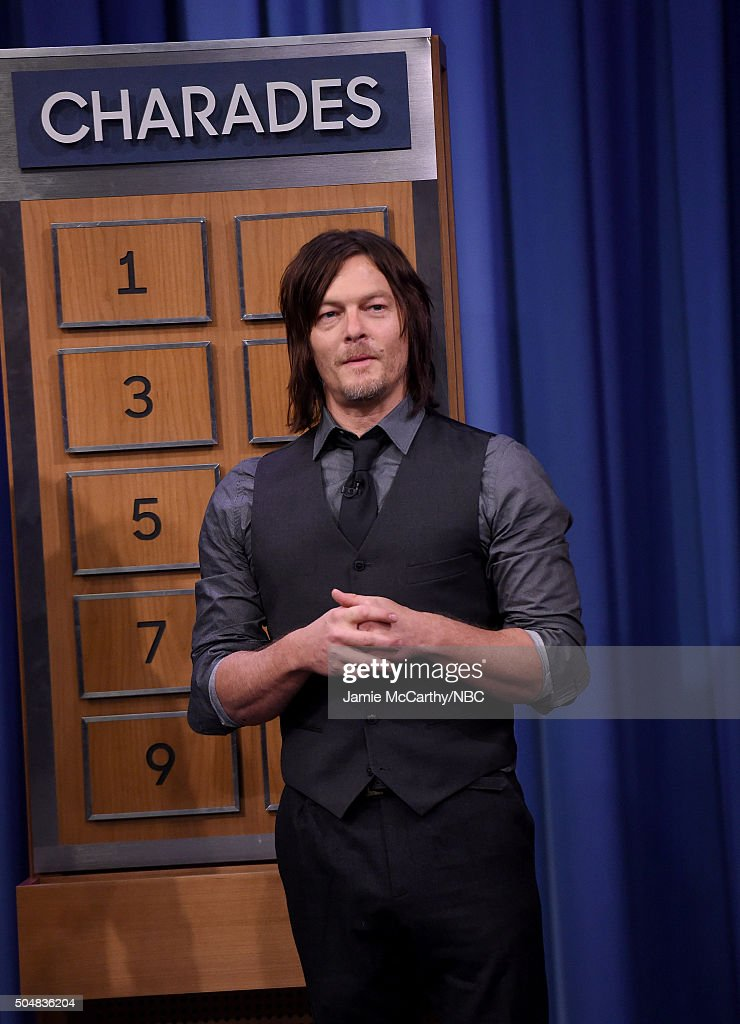 Norman Reedus plays charades during a segment on 'The Tonight Show Starring Jimmy Fallon'at Rockefeller Center on January 13, 2016 in New York City.