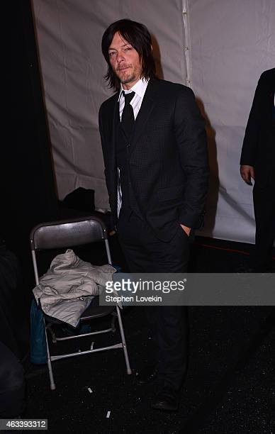 Norman Reedus prepares backstage at the August Getty fashion show during MercedesBenz Fashion Week Fall 2015 at The Salon at Lincoln Center on...