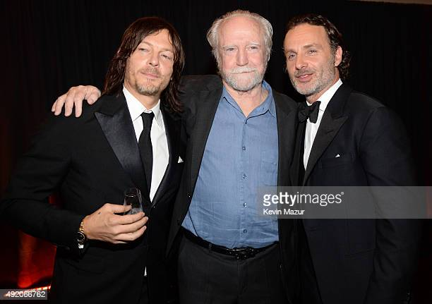 """Norman Reedus, Scott Wilson and Andrew Lincoln attend AMC's """"The Walking Dead"""" season 6 fan premiere event at Madison Square Garden on October 9,..."""