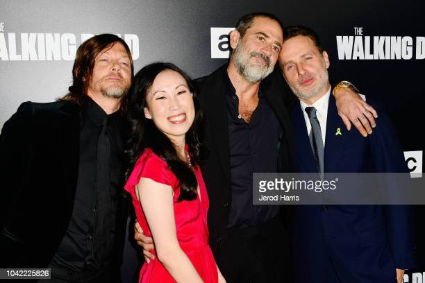Norman Reedus Showrunner Angela Kang Jeffrey Dean Morgan and Andrew Lincoln arrive at the Premiere Of AMC's 'The Walking Dead' Season 9 at the DGA...