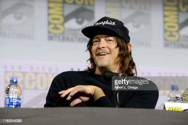 Norman Reedus speaks at The Walking Dead Panel during 2019 ComicCon International at San Diego Convention Center on July 19 2019 in San Diego...
