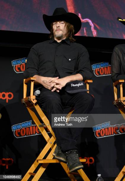 Norman Reedus speaks onstage during The Walking Dead panel during New York Comic Con at The Hulu Theater at Madison Square Garden on October 6 2018...