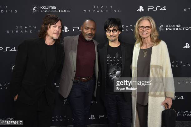 Norman Reedus Tommie Earl Jenkins Hideo Kojima and Lindsay Wagner attend Fractured Worlds The Art of DEATH STRANDING on November 05 2019 in New York...