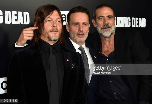 "Norman Reedus,Andrew Lincoln, Jeffery Dean Morgan attend the Premiere of AMC's ""The Walking Dead"" Season 9 at DGA Theater on September 27, 2018 in..."