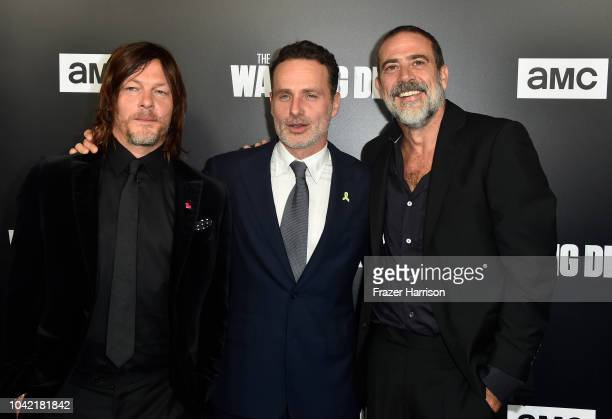 """Norman Reedus,Andrew Lincoln, Jeffery Dean Morgan attend the Premiere of AMC's """"The Walking Dead"""" Season 9 at DGA Theater on September 27, 2018 in..."""