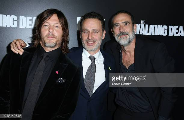 """Norman Reedus;Jeffrey Dean Morgan;Andrew Lincoln arrives at the Premiere Of AMC's """"The Walking Dead"""" Season 9 at DGA Theater on September 27, 2018 in..."""