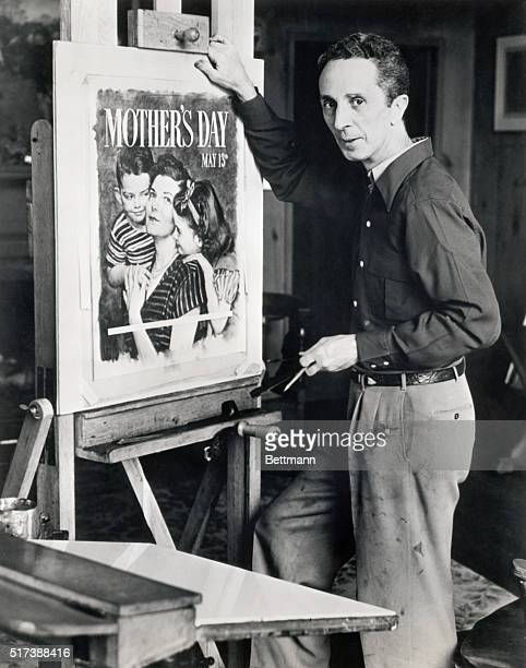 Norman Rockwell American painter and illustrator, at work on official 1951 Mother's Day poster. Photograph.
