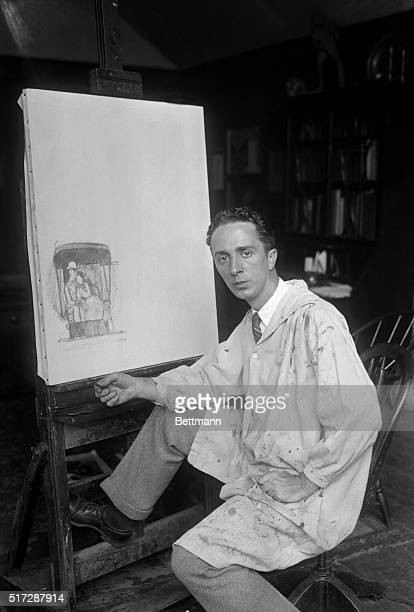 Norman Rockwell, modern artist is shown drawing modern models in his home at New Rochelle.