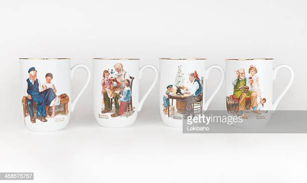 norman rockwell mug set, porcelain cup - 20th century style stock pictures, royalty-free photos & images