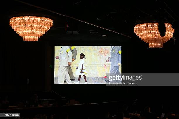 """Norman Rockwell's """"The Problem We All Live With"""" displayed on screen during 'The African Americans: Many Rivers to Cross with Henry Louis Gates, Jr.'..."""