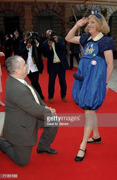 Norman Rosenthal and artist and Turner Prize 2003 winner Grayson Perry arrive for the champagne reception launching the world's oldest and largest...
