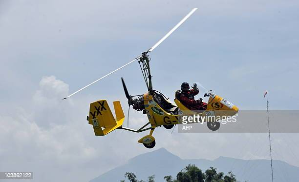 Norman Surplus of Northern Ireland also known as 'Gyrocopter man' flies his gyrocopter during a fly by test at the Woodland airpark near the former...