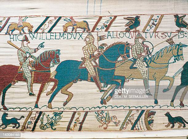 Norman troops of William the Conqueror detail of Queen Mathilda's Tapestry or Bayeux Tapestry depicting Norman conquest of England in 1066 France...