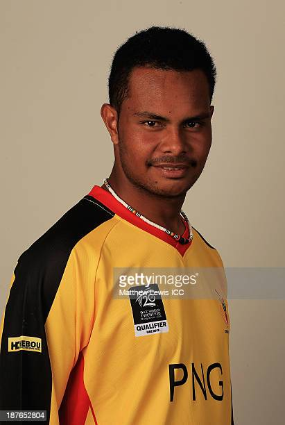 Norman Vanua of Papua New Guinea pictured during a headshot session ahead of the ICC World Twenty20 Qualifiers on November 11 2013 in Dubai United...