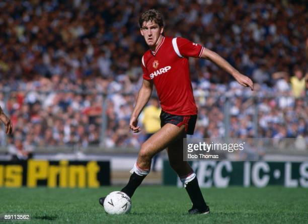 Norman Whiteside in action for Manchester United during the FA Charity Shield match against Everton at Wembley Stadium 10th August 1985 Everton won 20