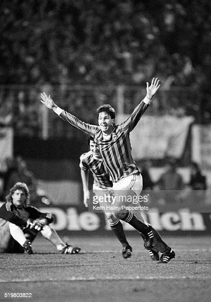 Norman Whiteside of Nothern Ireland celebrates after scoring the winning goal against West Germany during the UEFA European Championship Group 6...