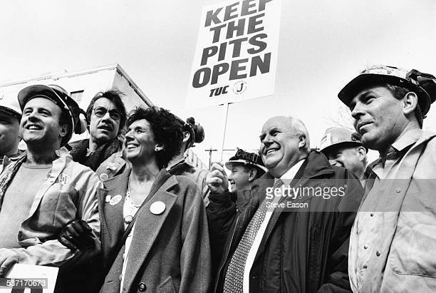 Norman Willis General Secretary of the Trades Union Congress with actors Roger Lloyd Pack and Sue Johnston joining the picket line to support the...