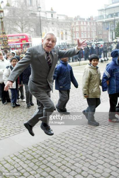 Norman Wisdom arrives at the annual Woman's Own Children of Courage Awards at Westminster Abbey * Britain's bravest youngsters were honoured for...