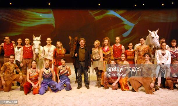 Normand Latourelle founder of Cavalia and cofounder of Cirque De Solei with the cast of Cavalia following the Cavalia sneak preview at Atlantic...