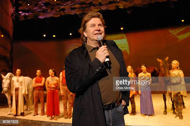 Normand Latourelle founder of Cavalia and cofounder of Cirque De Solei speaks following the Cavalia sneak preview at Atlantic Station on October 26...