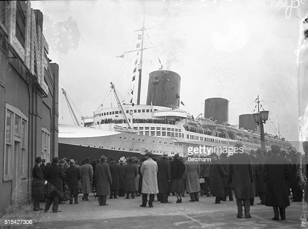 SS Normandie Arrives The great liner Normandie arrives from a South American cruise She sailed February 5 with 1000 passengers Photo from pier shows...