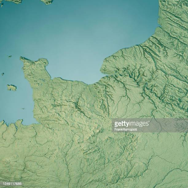 normandy 3d render topographic map color - frankramspott stock pictures, royalty-free photos & images