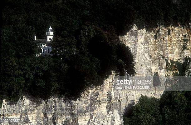 Normandy Pays De Caux In France In 1983 Lighthouse on the Seine river near Tancarville bridge