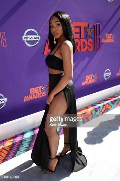 Normani attends the 2018 BET Awards at Microsoft Theater on June 24 2018 in Los Angeles California