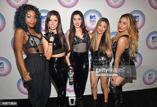 Normani Hamilton Camila Cabello Lauren Jauregui Ally Brooke and Dinah Jane Hansen of Fifth Harmony attend the 2014 MTV EMA Kick Off at the Klipsch...