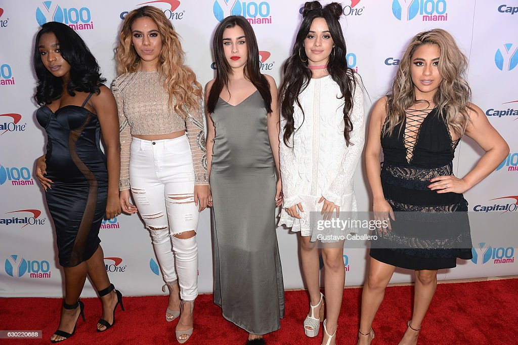 Normani Hamilton, Dinah Jane Hansen, Lauren Jauregui, Camila Cabello, and Ally Brooke of Fifth Harmony attend the Y100's Jingle Ball 2016 - PRESS ROOM at BB&T Center on December 18, 2016 in Sunrise, Florida.