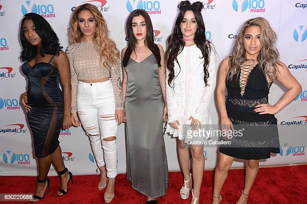 Normani Hamilton Dinah Jane Hansen Lauren Jauregui Camila Cabello and Ally Brooke of Fifth Harmony attend the Y100's Jingle Ball 2016 PRESS ROOM at...