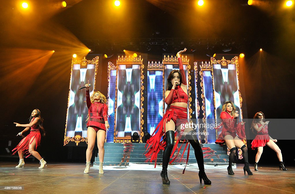Normani Hamilton, Dinah-Jane Hansen, Camila Cabello, Ally Brooke and Lauren Jauregui of Fifth Harmony perform at the 99.7 NOW! Triple Ho show at SAP Center on December 2, 2015 in San Jose, California.