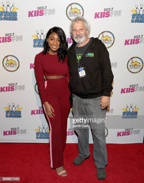 Normani Kordei and A Place Called Homes Executive Director Jonathan Zeichner attend A Place Called Home's 12th Annual Stars Strikes Celebrity Bowling...