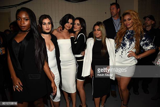 Normani Kordei Lauren Jauregui Camila Cabello Ally Brooke Hernandez Dinah Jane of Fifth Harmony pose with Selena Gomez at Z100's Jingle Ball 2015 at...