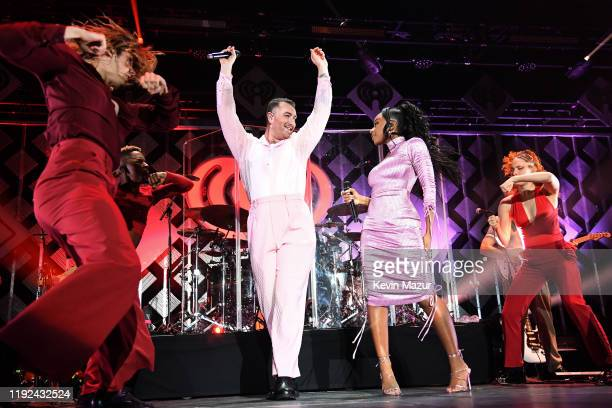 Normani performs onstage with Sam Smith during 1027 KIIS FM's Jingle Ball 2019 Presented by Capital One at the Forum on December 6 2019 in Los...