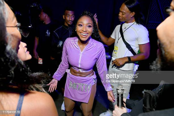 Normani poses backstage during the 2019 MTV Video Music Awards at Prudential Center on August 26 2019 in Newark New Jersey