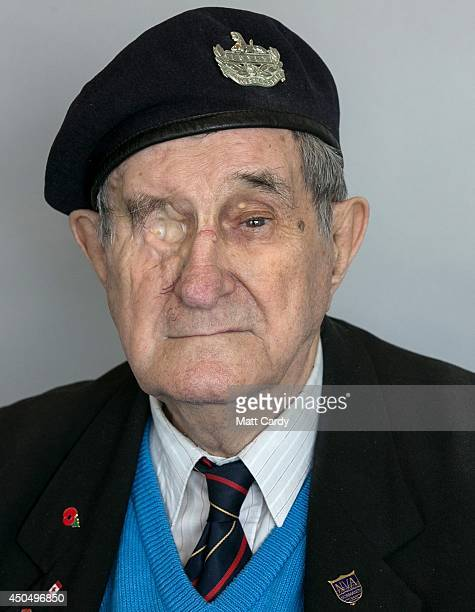 Normany veteran 88-year-old Frank Rosier poses for a photograph at the D-Day Museum at Southsea seafront on April 10, 2014 in Portsmouth, England. On...