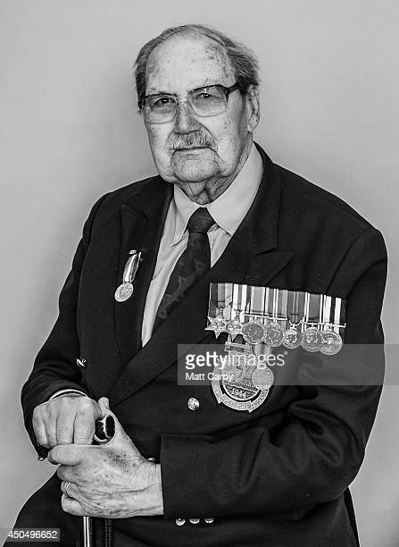 Normany veteran 90-year-old Eddie Wallace poses for a photograph at the D-Day Museum at Southsea seafront on April 10, 2014 in Portsmouth, England....