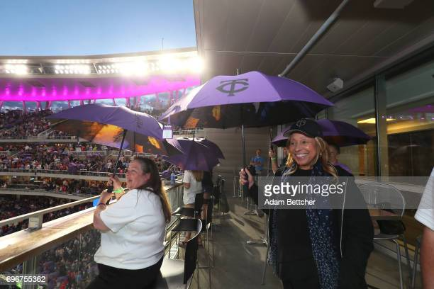 Norrine Nelson helps celebrate Prince Night at Target Field a tribute to Minneapolis' own late musician organized by home team Minnesota Twins on...